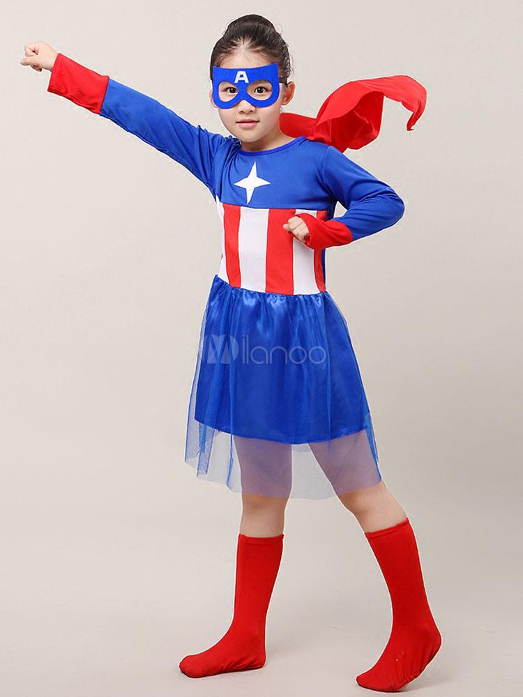 Halloween Kostume Amerika.Kinder Halloween Kostum Madchen Blau Kapitan Amerika Cosplay Kleid Mit Brille Und Schuhe Halloween