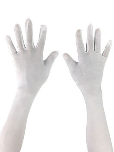 Lycra Spandex Gloves Elbow Length Unisex White Magician Halloween Costume Accessory Halloween
