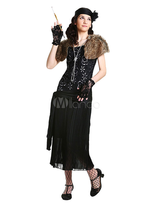 Vintage Flapper Dress 1920s Great Gatsby Black Polyester Elegant ...