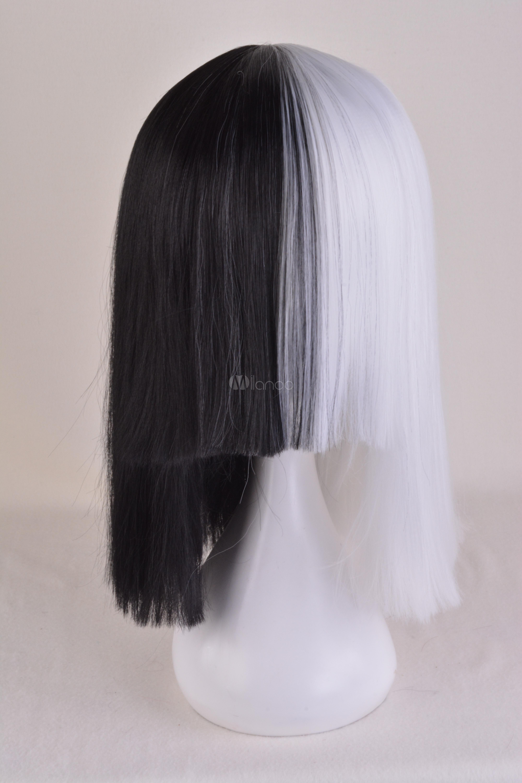 Sia Kate Isobelle Furler Cosplay Wig Black White Wig Halloween-No.1 ... c014190ede46