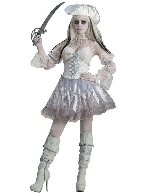 Disfraz de Mujer estilo de miedo de tul de gris claro Novia de color