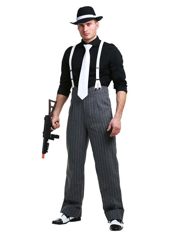 Men's Halloween Costume Black Gangster Color Block Pants With Shoulder Strap And Tie Halloween