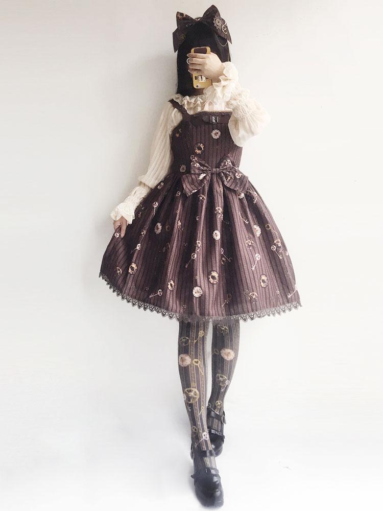 Buy Steampunk Lolita JSK Jumper Skirt Infanta Deep Brown Chiffon Ruffles Sleeveless Fairytale Print Pleated Lolita Dresses for $74.99 in Milanoo store