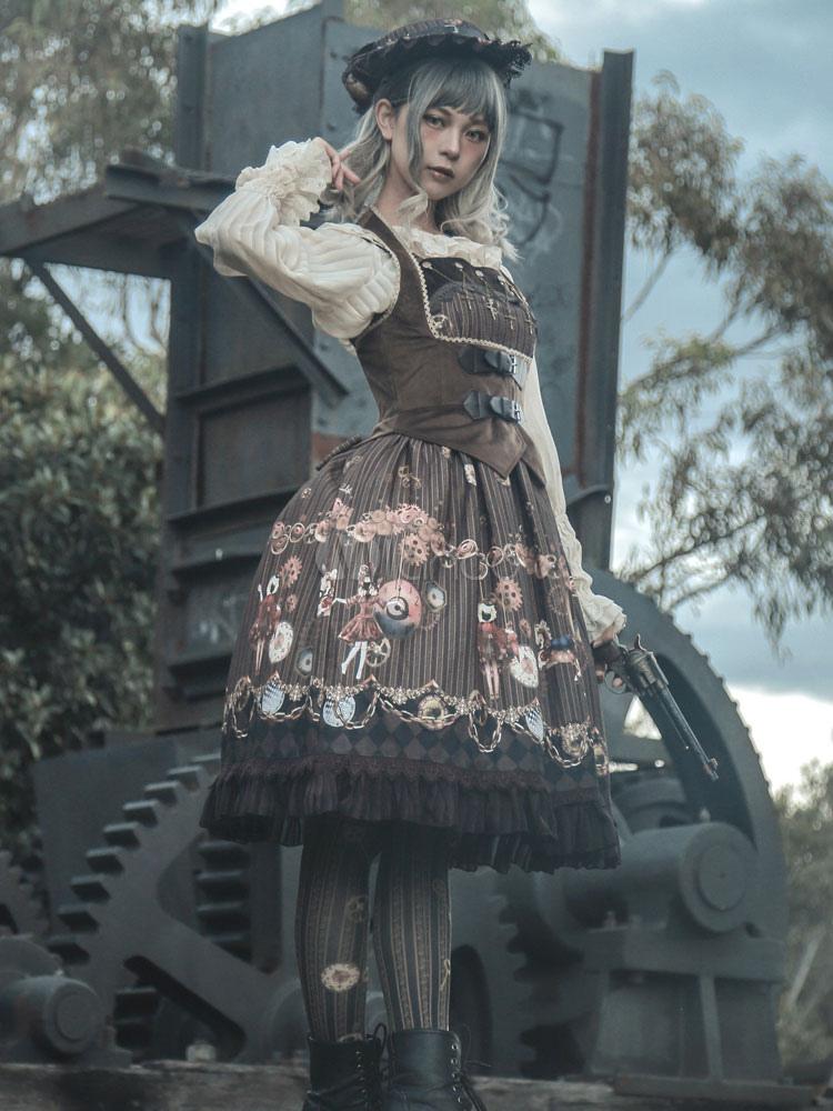 Steampunk Lolita JSK Jumper Skirt Infanta Deep Brown Chiffon Sleeveless Fairytale Print Pleated Lolita Dresses