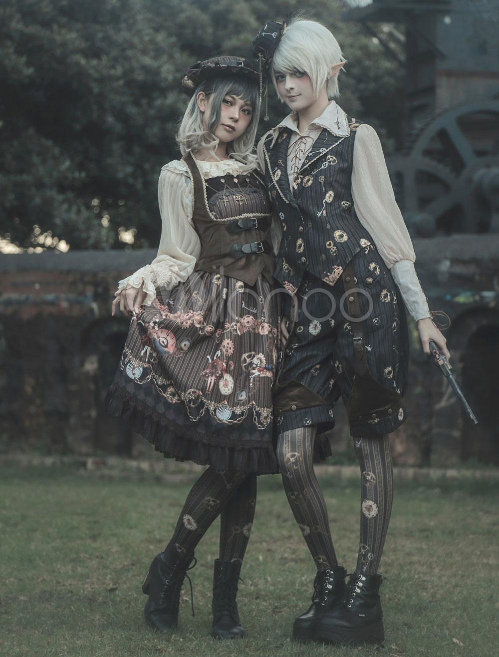 Steampunk Lolita Pants Infanta Black Chiffon Fairytale Print Pleated Lolita Bottoms