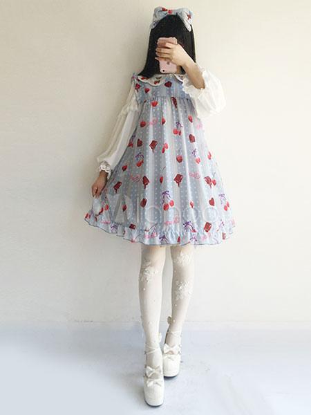 Buy Sweet Lolita JSK Jumper Skirt Infanta Light Blue Chiffon Sleeveless Candy Print Pleated Lolita Dresses for $33.99 in Milanoo store