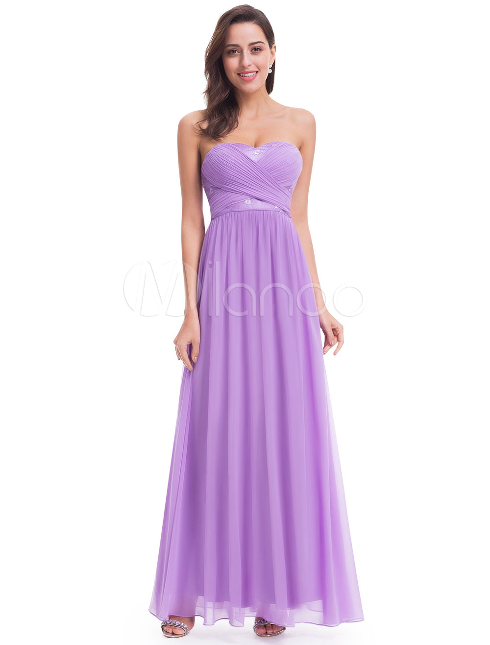 Buy Lilac Bridesmaid Dresses Long Strapless Sweetheart Chiffon Ruched A Line Floor Length Wedding Guest Dresses for $114.39 in Milanoo store