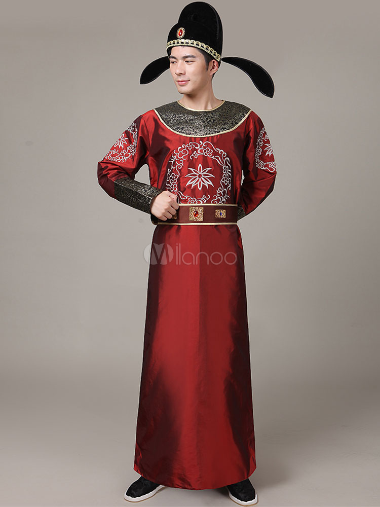 Halloween Chinese Costume Brown Long Color Block Gown With Sash And Hat For Men-No ...  sc 1 st  Milanoo.com & Halloween Chinese Costume Brown Long Color Block Gown With Sash And ...
