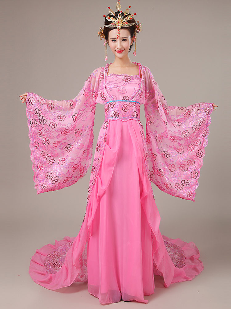 Buy Halloween Chinese Costume Pink Lace Color Block Long Dress With Sash And Overcoat For Women for $89.99 in Milanoo store