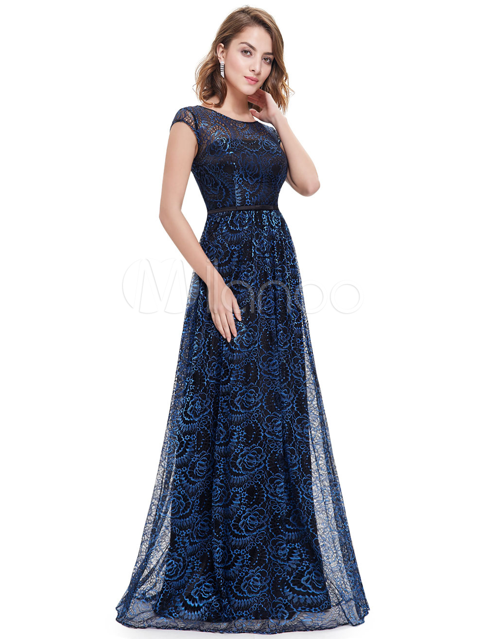 Buy Blue Evening Dresses Lace Mother Of The Bride Dress Backless Illusion A Line Floor Length Wedding Guest Dresses for $105.59 in Milanoo store