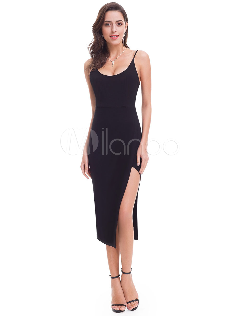 37d8194bf ... Vestido de cóctel de elastano de marca LYCRA negro con tirantes sin  mangas con abertura lateral. 1. -50%. color Negro