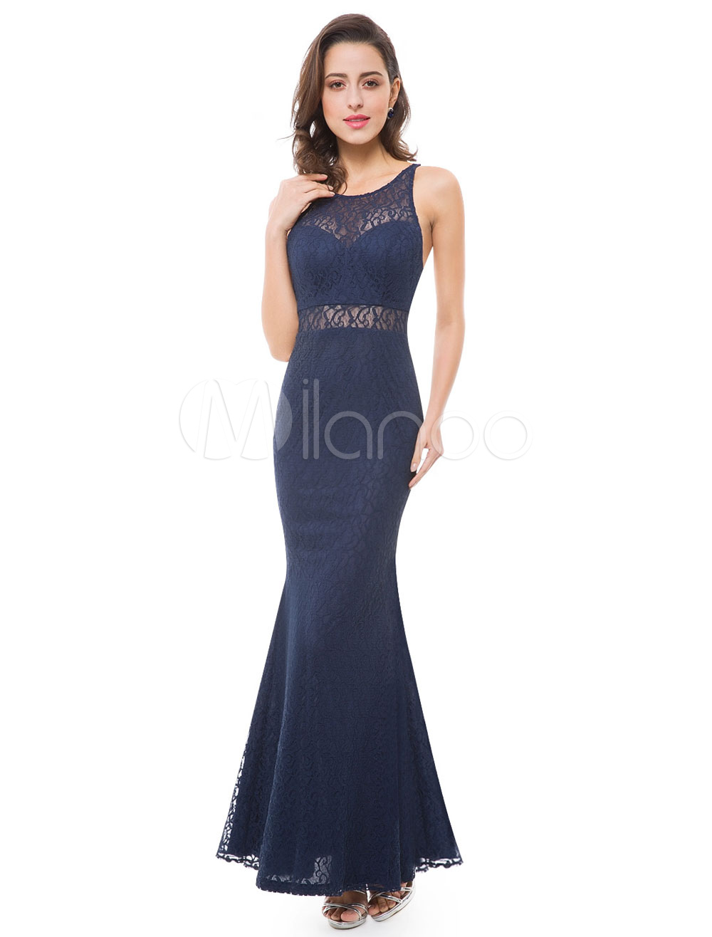Buy Mermaid Evening Dresses Backless Lace Illusion Sweetheart Floor Length Dark Navy Formal Dresses for $105.59 in Milanoo store