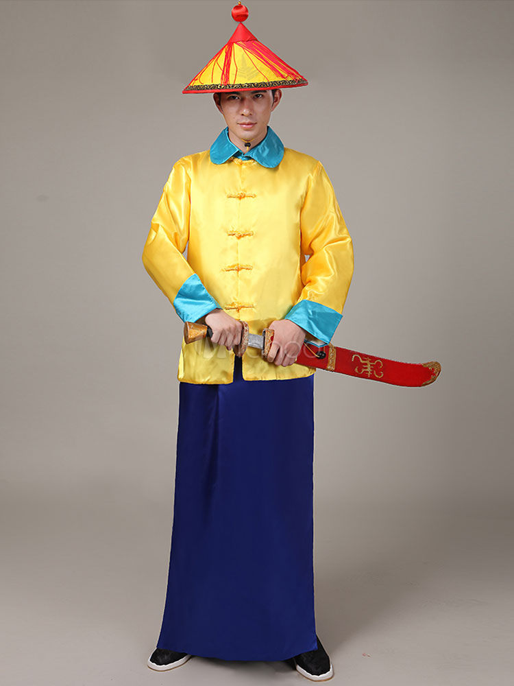 029686869e0 Halloween Chinese Costume Yellow Qing Dynasty Long Top With Skirt And Hat  For Men-No ...