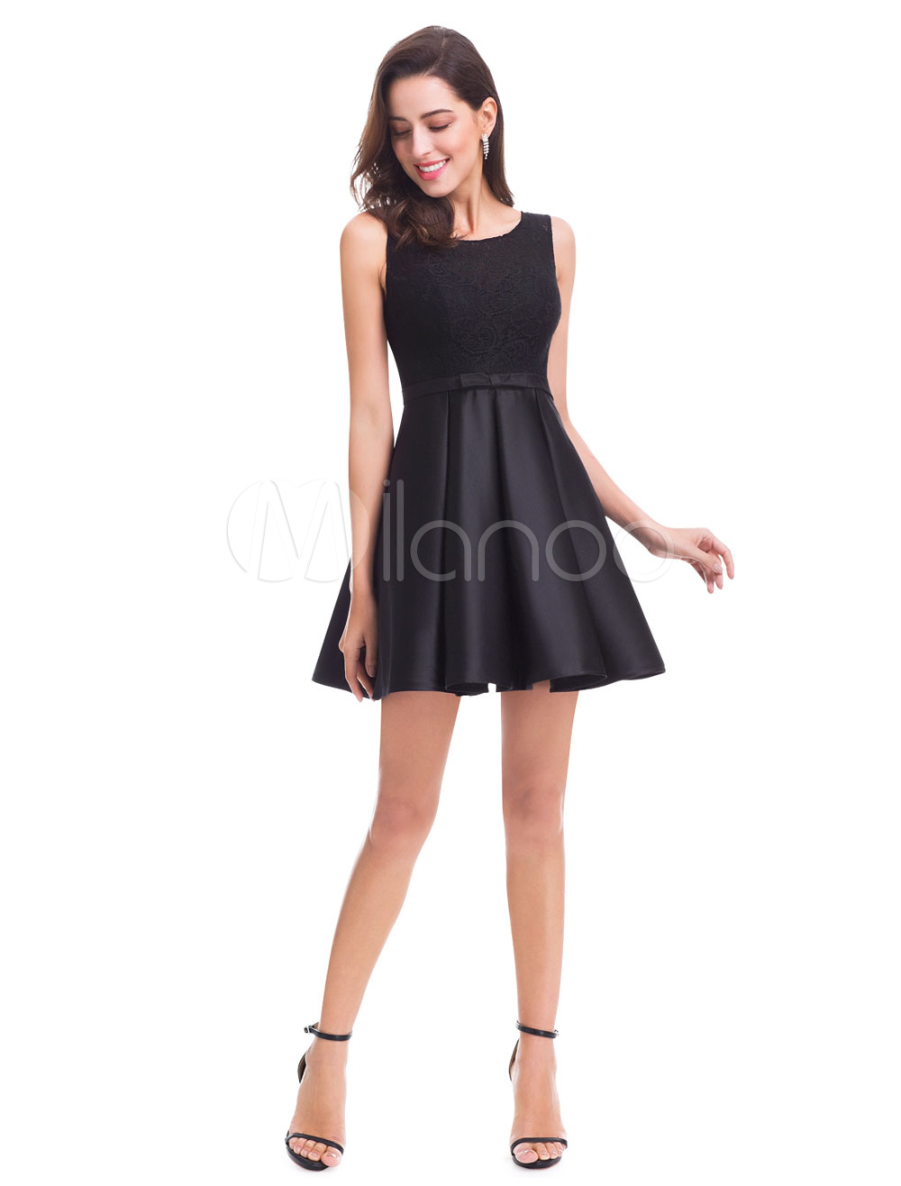 Little Black Dresses A Line Short Homecoming Dress Lace Bow Sash Pleated Mini Cocktail Dress