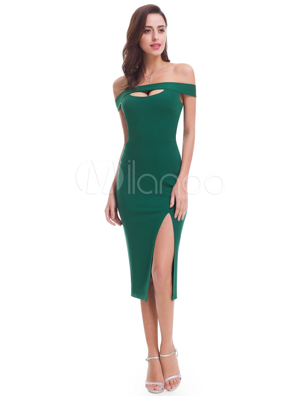 Buy Sheath Evening Dress Sexy High Split Cocktail Dress Off The Shoulder Cut Out Tea Length Party Dresses for $96.79 in Milanoo store