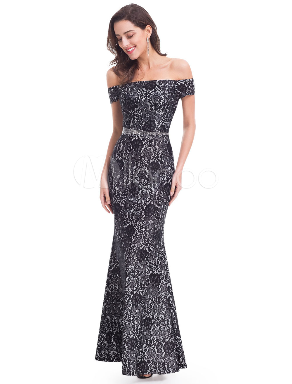 Buy Lace Evening Dresses Black Off The Shoulder Mermaid Beading Sash Floor Length Formal Dresses for $114.39 in Milanoo store