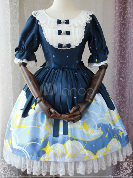 Buy Classic Lolita OP One Piece Dress Magic Tea Party Ruffles Bows Chiffon Short Sleeve Printed Dark Navy Lolita Dresses for $65.69 in Milanoo store