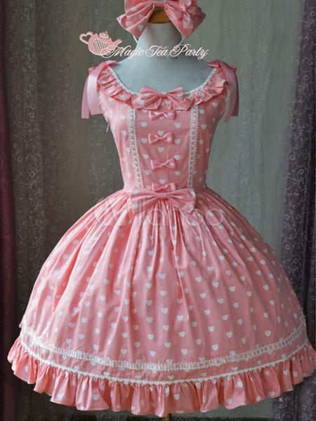 Buy Sweet Lolita JSK Jumper Skirt Magic Tea Party Ruffles Bows Printed Scoop Neck Sleeveless Peach Lolita Dresses for $91.79 in Milanoo store