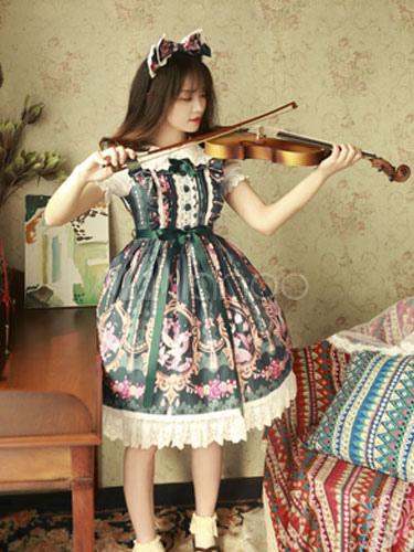 Buy Sweet Lolita JSK Jumper Skirt Magic Tea Party Ruffles Ribbons Printed Sleeveless Chiffon Atrovirens Lolita Dresses for $171.99 in Milanoo store