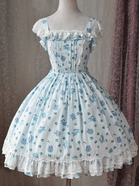 Buy Sweet Lolita JSK Jumper Skirt Magic Tea Party Lace Ruffles Printed Square Neck Sleeveless White Lolita Dresses for $84.59 in Milanoo store