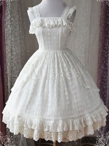 c6714e00bc168 Sweet Lolita JSK Jumper Skirt Magic Tea Party Lace Ruffles Frills  Sleeveless White Lolita Dresses- ...