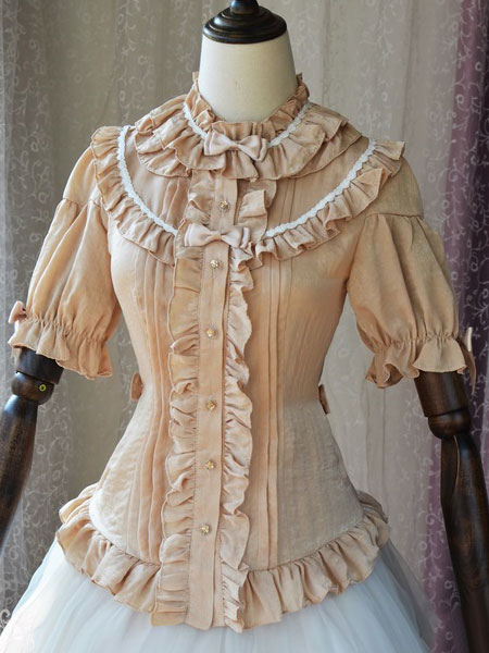Buy Sweet Lolita Blouses Magic Tea Party Chiffon Ruffles Bows Stand Collar Half Sleeve Apricot Lolita Top for $58.49 in Milanoo store