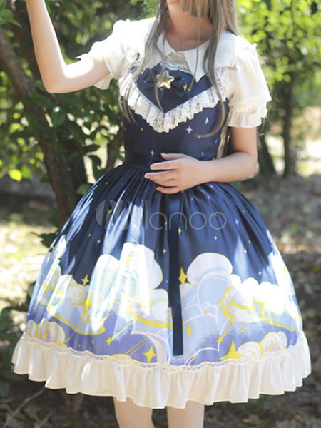 Buy Classic Lolita JSK Jumper Skirt Magic Tea Party Ruffles Bows Printed Sleeveless Dark Navy Lolita Dresses for $114.99 in Milanoo store
