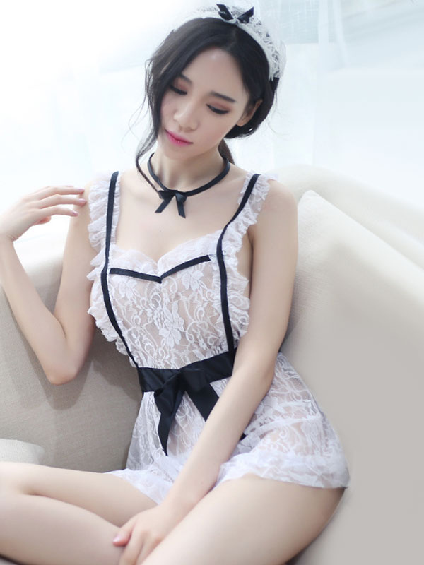 Buy Sexy Maid Costume Lace Two Tone Dress White Halloween Costume For Women Halloween for $14.71 in Milanoo store