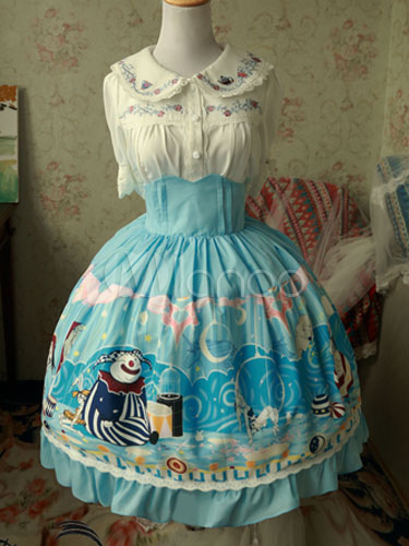 Buy Sweet Lolita Skirt Magic Tea Party Chiffon Ruffles Bows Printed Light Blue Lolita Bottoms for $68.99 in Milanoo store