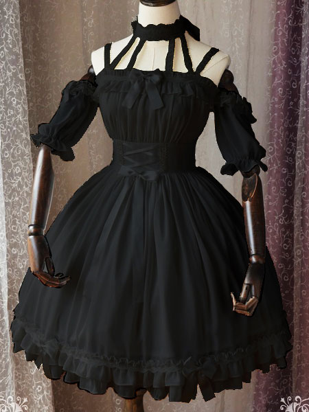 Buy Gothic Lolita OP One Piece Dress Magic Tea Party Ruffles Bows Printed Chiffon Short Sleeve Black Lolita Dresses for $122.99 in Milanoo store