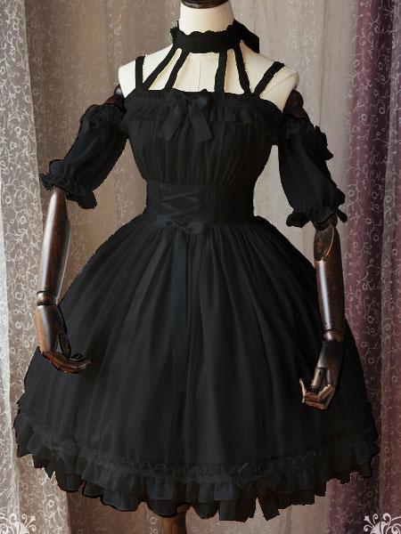 Buy Gothic Lolita OP One Piece Dress Magic Tea Party Ruffles Bows Printed Chiffon Short Sleeve Black Lolita Dresses for $116.99 in Milanoo store