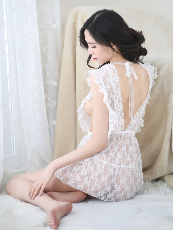 Sexy bridal costume white lace dress halloween wedding for Sexy wedding dress costume