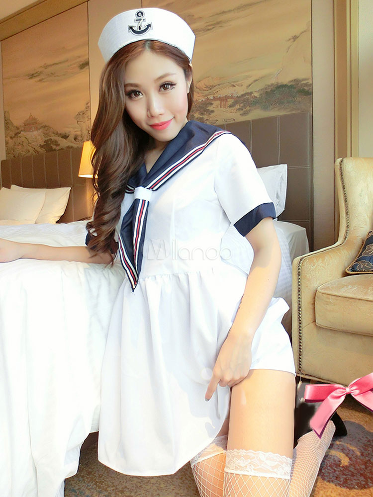 Sexy Sailor Costume Two Tone Women's White Mini Dress With Knee Socks And Hat Halloween