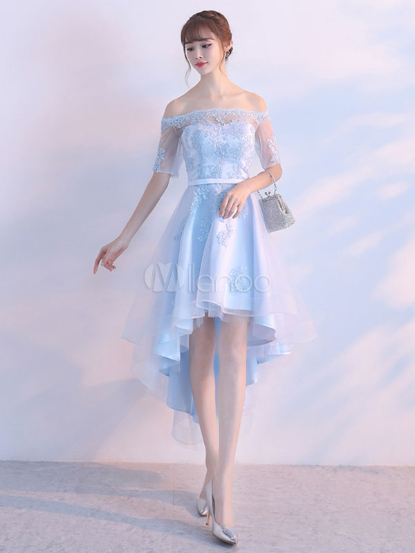 Buy Tulle Prom Dress Pastel Blue Illusion Sash Off The Shoulder Lace Applique Homecoming Dresses A Line High Low Party Dresses for $114.39 in Milanoo store
