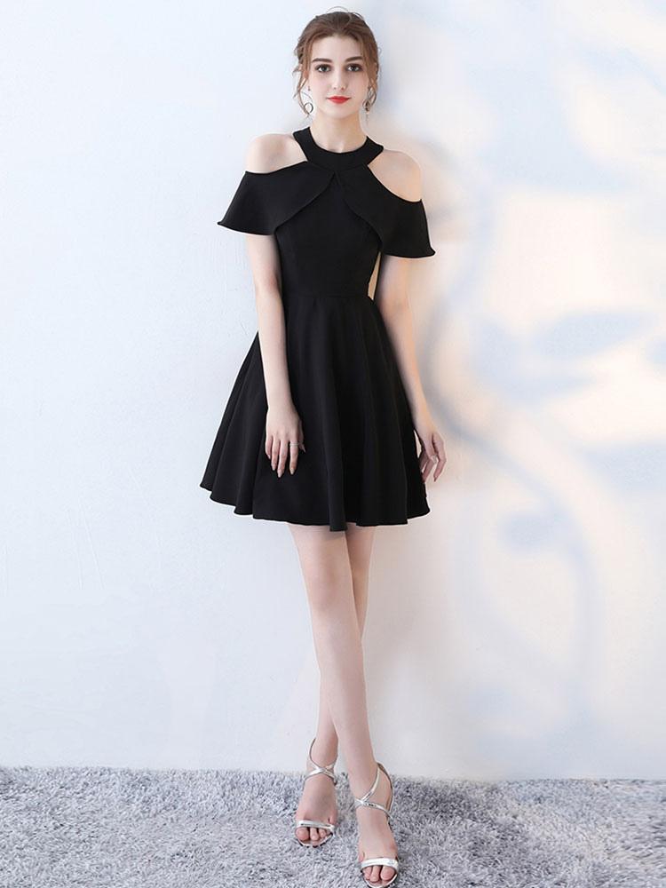 kleine schwarze kleid kalte schulter ausgeschnitten heimkehr kleider eine linie kreuz zur ck. Black Bedroom Furniture Sets. Home Design Ideas