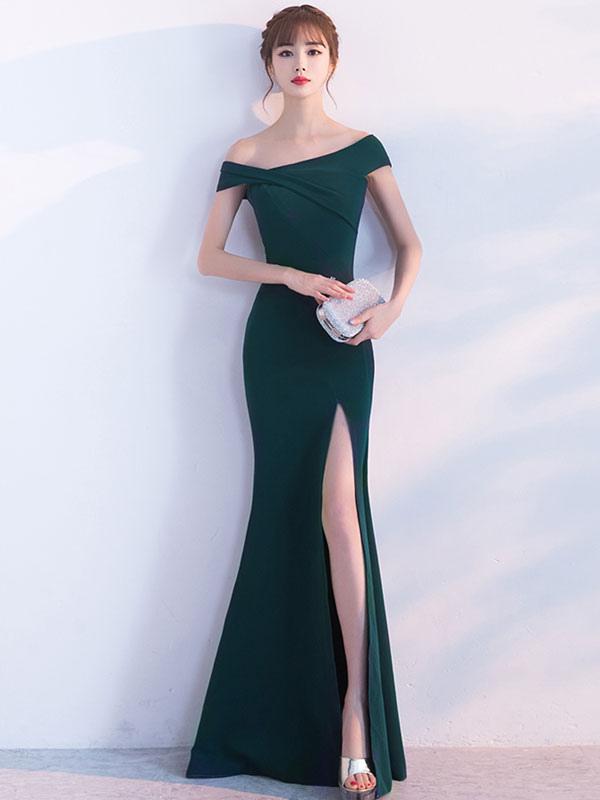 ... Mermaid Homecoming Dress Oblique Short Sleeve Long Evening Dresses Dark  Green Split Occasion Dresses With Train ... d9cc78ffa7b0