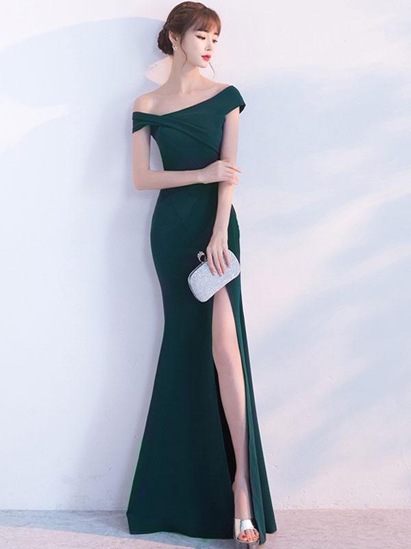 Meerjungfrau heimkehr kleid schr ge kurze rmel lange for Milanoo abendkleider
