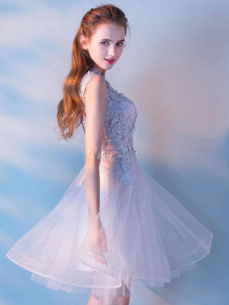robe f te de la rentr e princesse en tulle gris clair col rond avec dentelle longueur genou. Black Bedroom Furniture Sets. Home Design Ideas