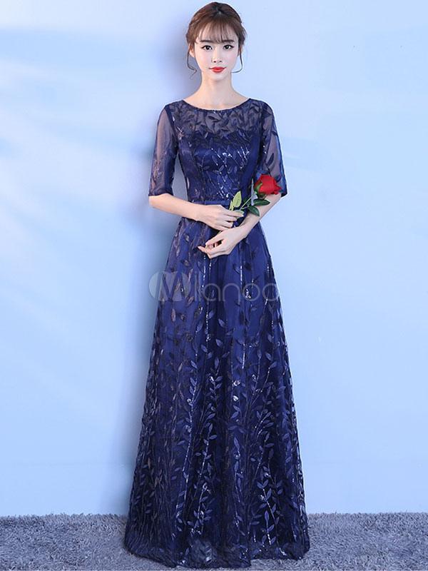 d56433a54 Vestido de noche de color azul marino oscuro con 1 2 manga con escote  redondo ...