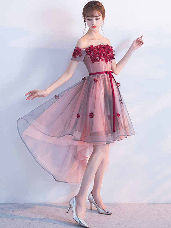 Buy Burgundy Homecoming Dress Sash Off The Shoulder Lace Applique A Line Tulle Party Dresses Short Sleeve High Low Prom Dress for $118.79 in Milanoo store
