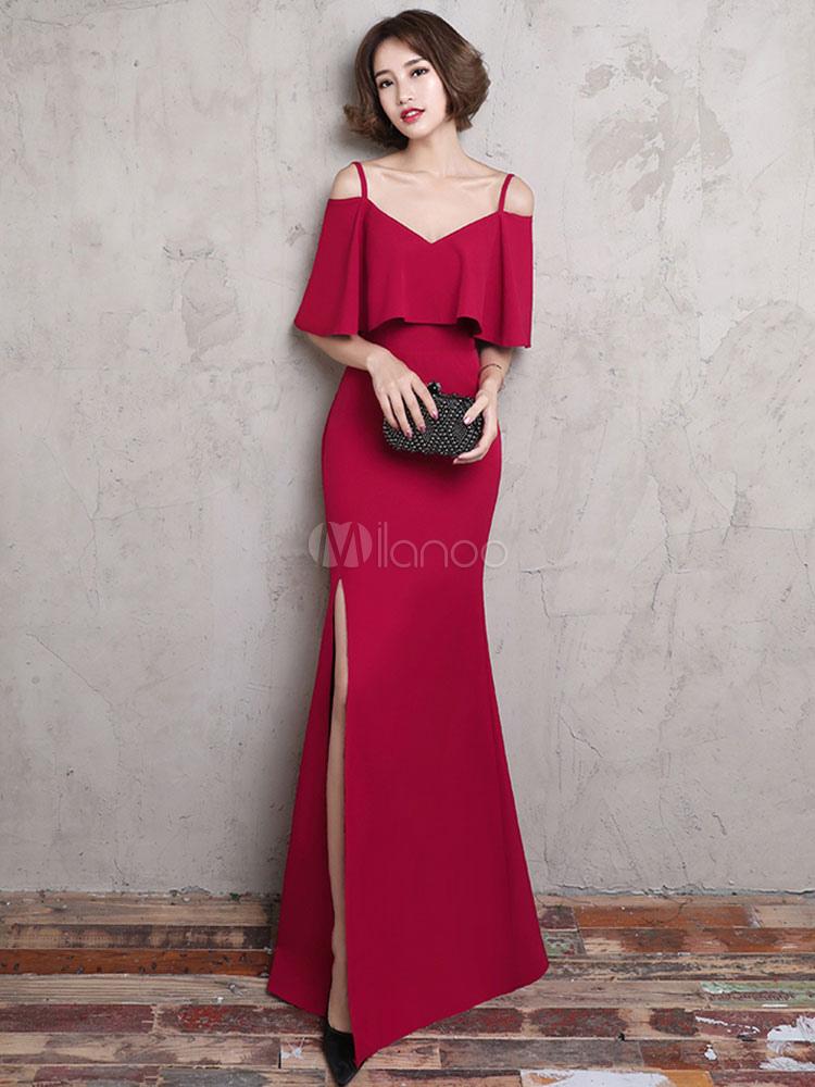 c8a1c0635ed Burgundy Evening Dresses Off The Shoulder Straps Ruffles Long Formal Dresses  Split Mermaid Occasion Dresses- ...