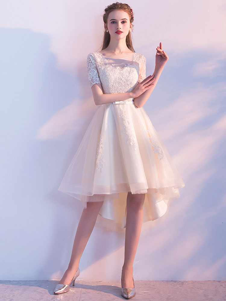 2942429d58b20 ... Champagne Homecoming Dresses Tulle Prom Dresses Short Sleeve Lace  Applique Sash Round Neck A Line High ...