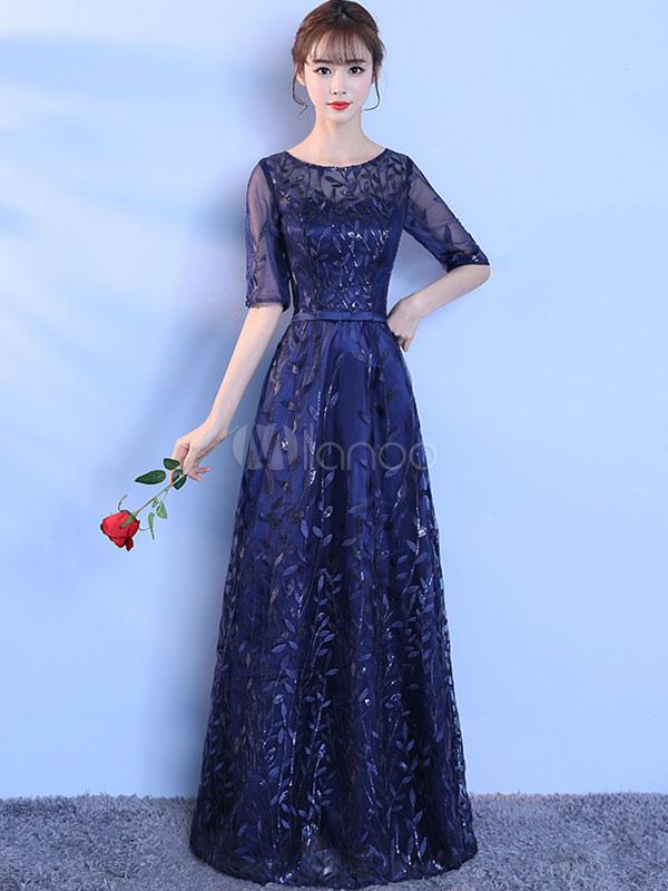 fe798c3ad ... Vestido de noche de color azul marino oscuro con 1 2 manga con escote  redondo ...
