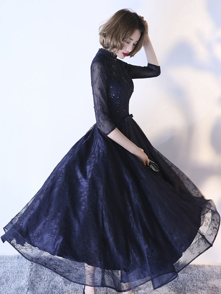 Buy Dark Navy Cocktail Dress High Collar Sash Lace Illusion Sleeve Applique Beaded A Line Tulle Formal Party Dresses for $123.19 in Milanoo store