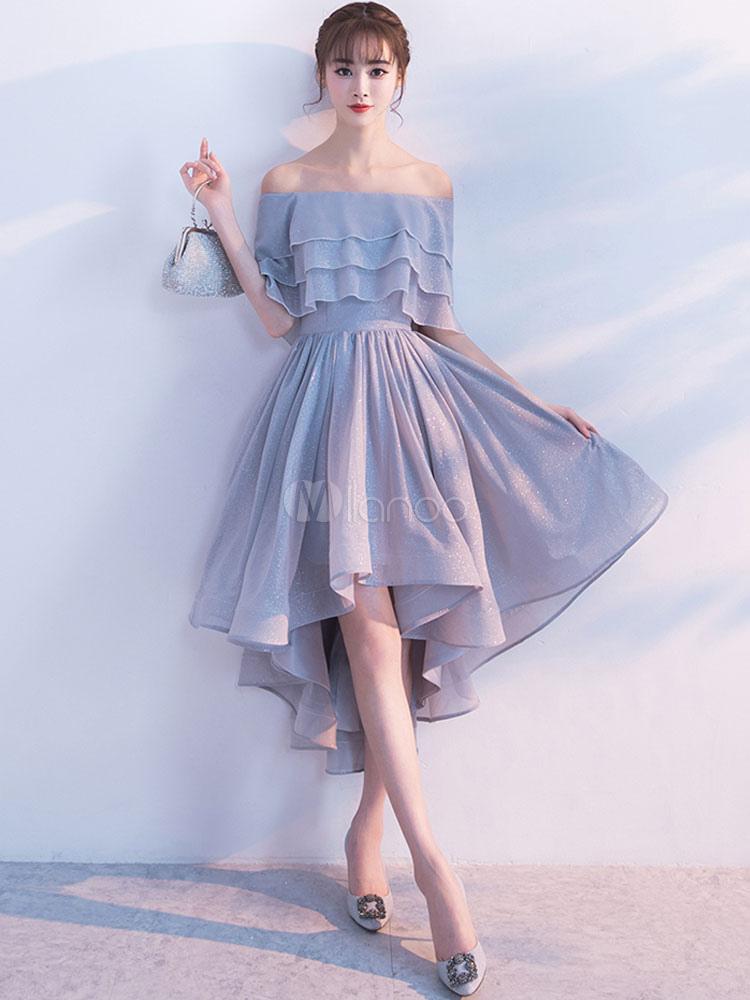 b545ab60 Short Homecoming Dress Off The Shoulder Half Sleeve Ruffles Cocktail Dresses  Light Grey A Line High ...