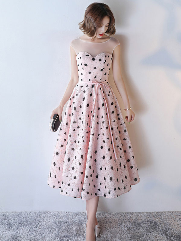 Buy Lace Cocktail Dress Soft Pink Sleeveless Illusion Polka Dot Print Sash Homecoming Dresses Round Neck A Line Party Dress for $118.79 in Milanoo store