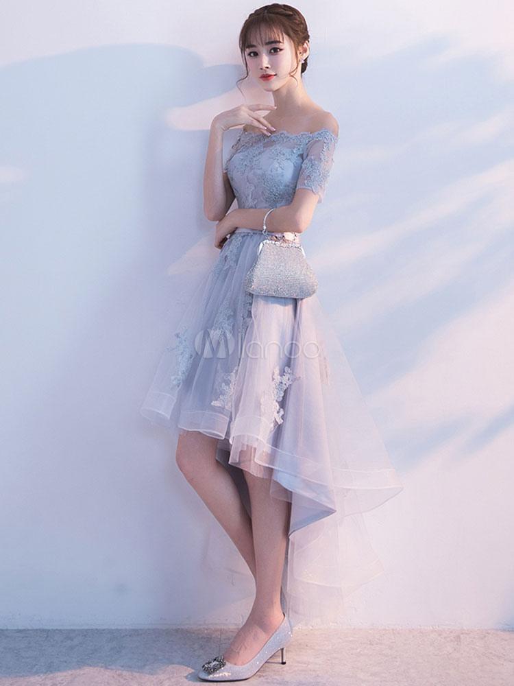e9b624c33ef3 ... Light Grey Prom Dress Off The Shoulder Lace Applique Short Sleeve  Homecoming Dresses Sash A Line ...