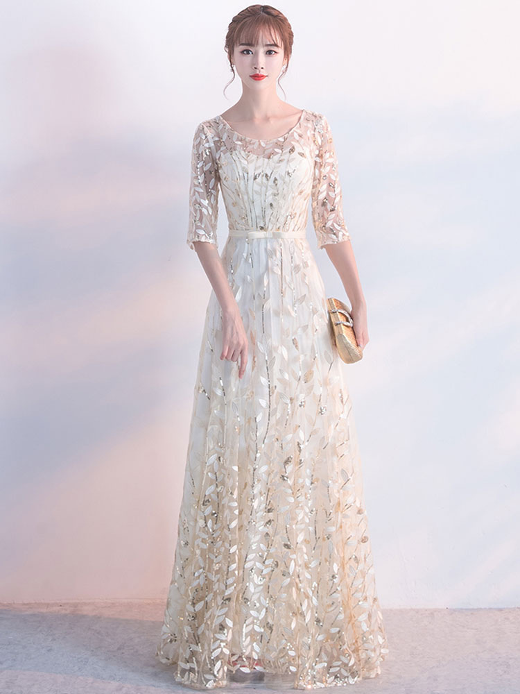 Champagne Evening Dress Sash Mother Of The Bride Dresses Round Neck Half Sleeve Lace A Line Floor Length Occasion Dresses