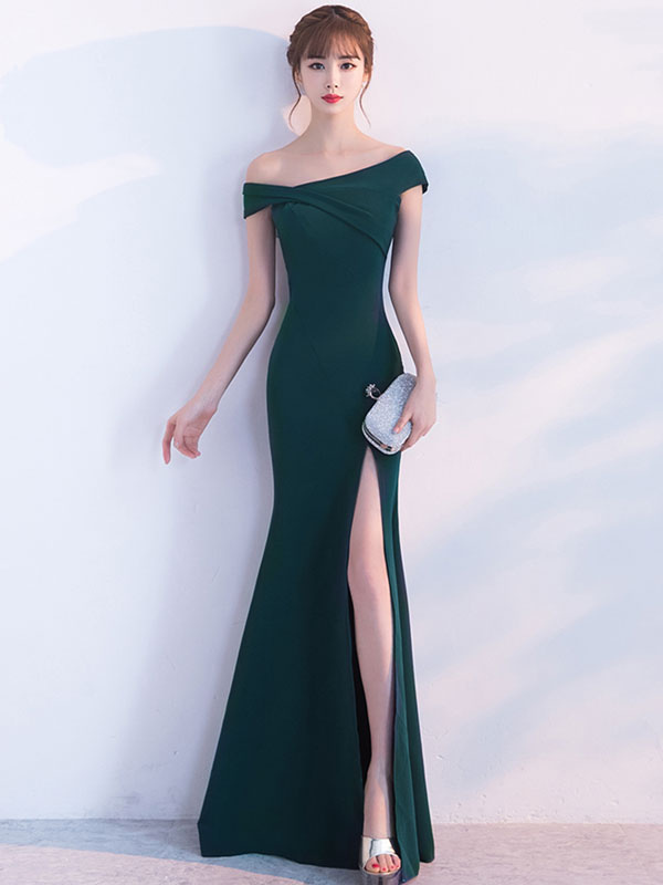 5bb3b11aba540 Mermaid Homecoming Dress Oblique Short Sleeve Long Evening Dresses Dark  Green Split Occasion Dresses With Train ...