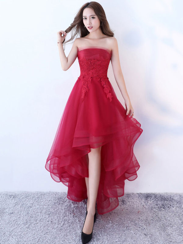 e306d8b94091 Burgundy Homecoming Dress Lace Sleeveless Strapless Applique A Line Party Dresses  High Low Tulle Asymmetrical Prom ...